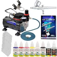 master airbrush delux nail kit comp hose air b paint stencils