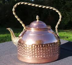 french copper kettle with copper and brass fittings old tin lined
