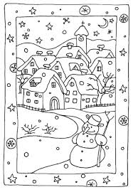 Cute Bunnies And Snowman Free Winter Coloring Pages With Winter Coloring Pages Free