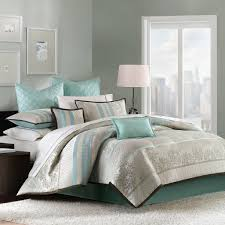Turquoise And Brown Bedding Sets Amazon Com Paige 8 Piece Comforter Set Aqua Queen Home U0026 Kitchen