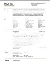 Sample Chronological Resume Template by Sample Cv Targeted At Fashion Retail Positions And Chronological