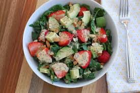 strawberry spinach salad with creamy vegan lemon maple poppy seed