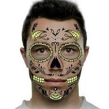 traditional glow sugar skull makeup temporary by tattoofun