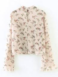 frilly blouse chiffon floral print frilly blouse pink blouses m zaful