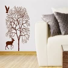 natural tree with bird silhouette art beautiful wall stickers home