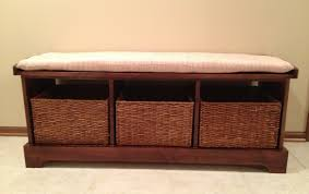 bench hypnotizing storage bench with rattan baskets stimulating