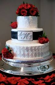 red white and blue wedding cake with fresh fruit wedding and