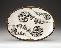 ceramic platter coiled wood fern small oval platter by zindel ceramic