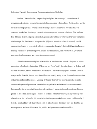 how to write a reflective paper examples comm 615 reflection paper 1 interpersonal relationships in the comm 615 reflection paper 1 interpersonal relationships in the workplace interpersonal relationships psychology cognitive science