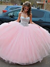 quinceanera pink dresses gown sweetheart pink tulle quinceanera dress with rhinestones