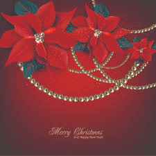 pearls and flowers christmas vector background free vector in