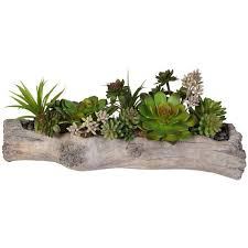 Artificial Plants Home Decor Jenny Silks Artificial Succulents With Natural Rocks In Stone Log