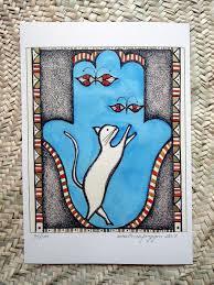 watercolour art print hamsa cat and butterflies moroccan