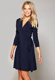 chiara forthi blues wraparound dress navy bubbleroom