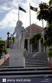 Christopher Columbus Flag Statue Of Christopher Columbus In Front Of The Government House