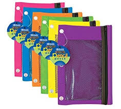 pencil pouch bazic 804 3 ring pencil pouch with mesh window 6 pcs