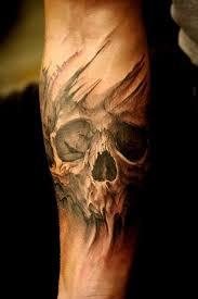 Forearm Skull - grey skull on right forearm