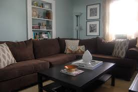 living room l tables l shaped brown fabric sofa with grey pattern cushions added by