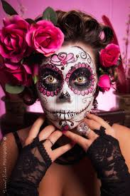 halloween background sugar skulls