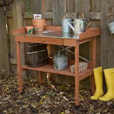amazon com cypress wood lotus potting bench with metal top patio