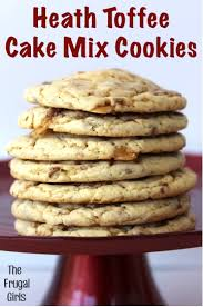heath toffee cake mix cookies recipe from thefrugalgirls com