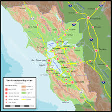 San Francisco Topographic Map by Population Map San Francisco U2022 Mapsof Net