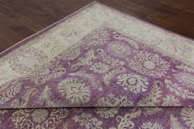 Lilac Rug Hand Knotted Purple Persian Area Rug 9 X 12