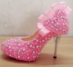 wedding shoes rhinestones fashion pink pearls rhinestones wedding shoes with heart design