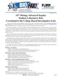 ap biology advanced inquiry student laboratory kits correlated to