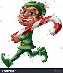 smiling christmas elf walking big candy stock illustration