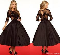 vintage black lace mother of the bride tea length dresses with