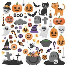 cute vector set with halloween illustrations stock vector art