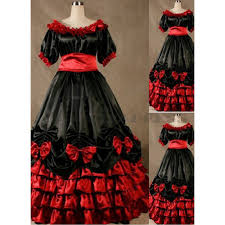 cheap short sleeves multi player ruffles bowknot black and red