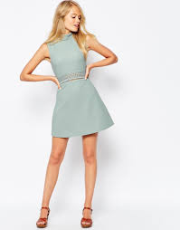 asos a line dress in texture with high neck and lace inserts in
