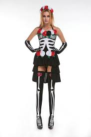 2015 halloween sugar skull costume 4 pieces skeleton print high