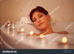 Women Bathtub Young Women Relaxing Bathtube Candles Stock Photo 172897988