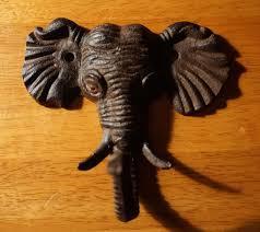 cast iron elephant trunk up hook rustic wild african safari home