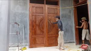 install largest wooden main door woodworking technology build