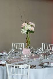 tall wedding centerpiece of pink white hydrangea gathered with