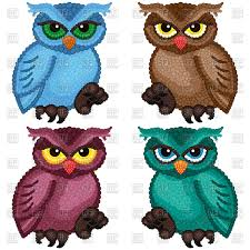set of colorful ornamental owls vector clipart image 76371