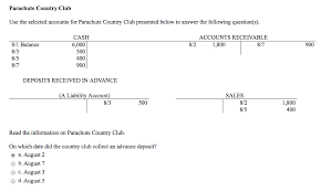 use the selected accounts for parachute country cl chegg