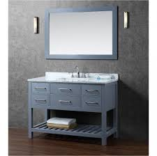 48 Inch Bathroom Vanity With Granite Top Gray Real Woo Vanity With Storage Drawers Mirror With Wooden Frame
