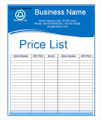 Wholesale Price Sheet Template Price List Template Excel