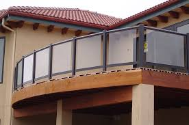 exteriors stunning glass fence balcony black wooden frame brown
