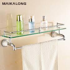 Bathroom Glass Shelves With Rail No 88813 Bathroom Glass Shelf Wall Mount With Towel Bar And Rail