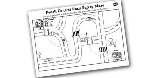 safe road crossing pencil control worksheet ipc transport