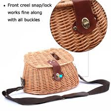 creel vintage wicker basket fly fishing basket willow with strap