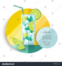 mojito cocktail drink recipe party summer stock vector 395241763