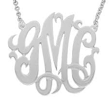 three initial monogram necklace mono03 personalized sterling silver 1 25 inch three initial
