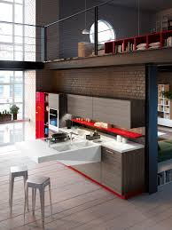 space saving kitchens with versatile cantilevered workstation view in gallery board kitchen design combines warmth of wood with red accents